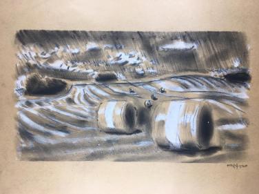 Landscape 2, Kohle / Acryl auf Papier, 2019