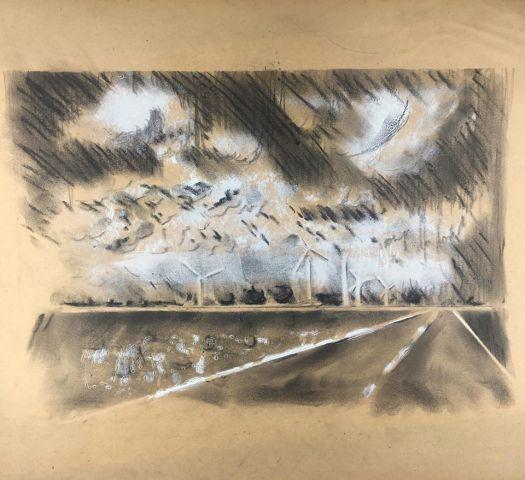 Landscape 1, Kohle / Acryl auf Papier, 2019