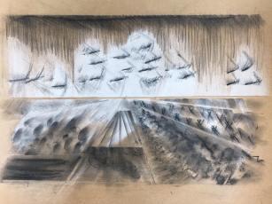Landscape 3, Kohle / Acryl auf Papier, 2019