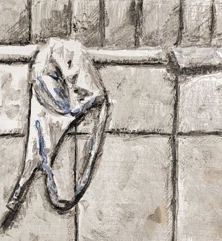 """""""On the tub"""", Eitempera auf Papier, 15x15cm, 2019"""