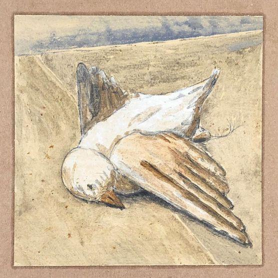 """""""""""Vogel"""" Eitempera auf Papier, 15x15cm, 2019"""